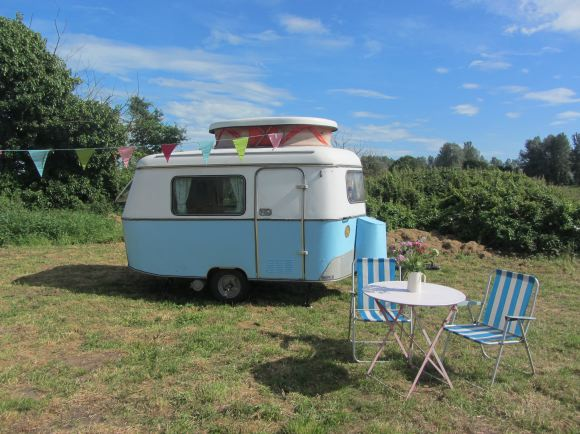 Vintage caravans with retro interiors.