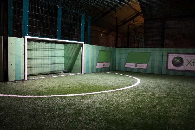 A great indoor 5-a-side football venue with different coloured pitches.
