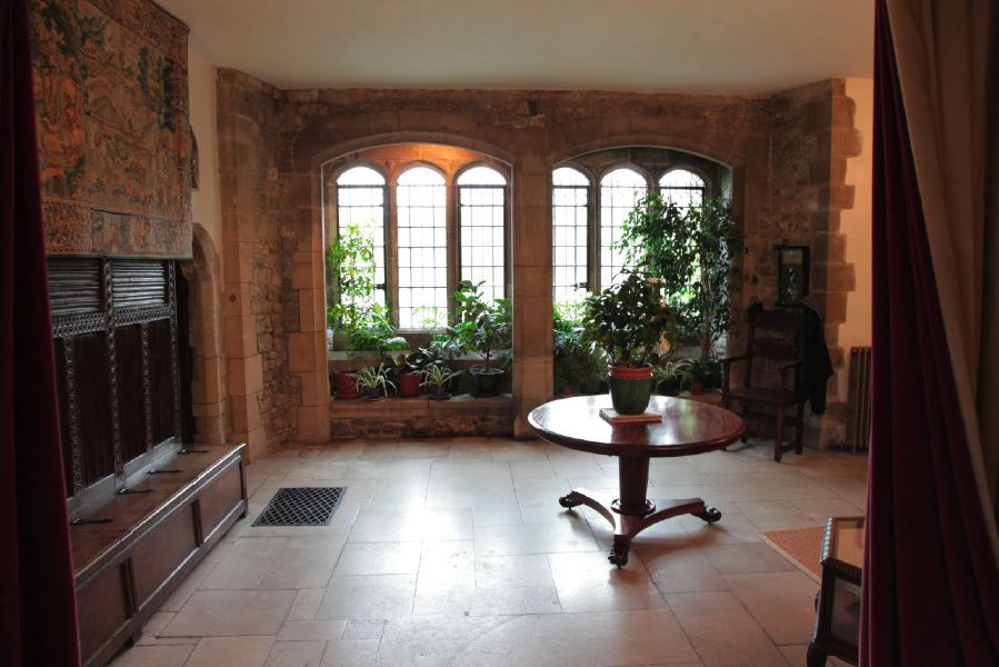 Sitting room and anti-room with stone mullion windows in a beautiful Castle