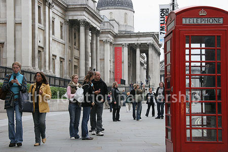Tradaitional British Phone Box with views of The National Gallery