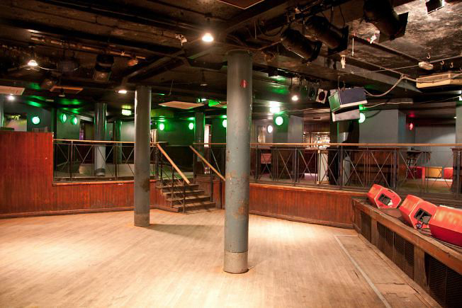 Underground music venue and backstage areas.
