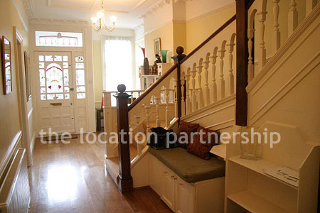 Edwardian Entrance Hall With Original Staircase Fireplace