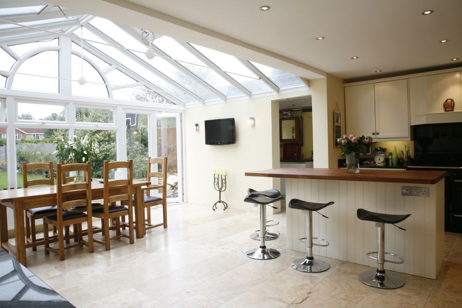 Large Conservatory Forming A Lovely Light Dining Room And Room Extension To A Family Kitchen