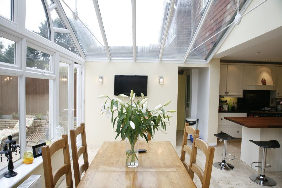 Large Conservatory Forming A Lovely Light Dining Room And