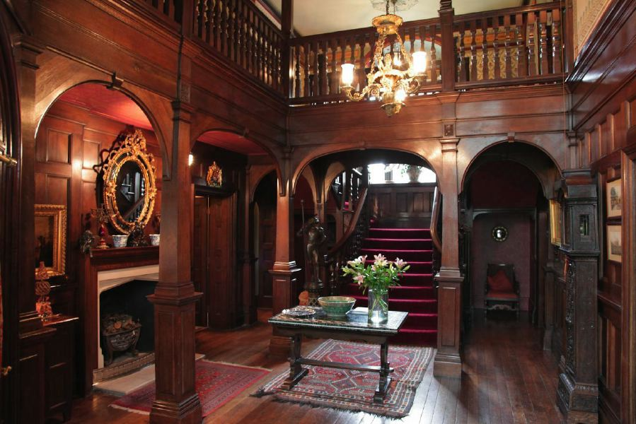 Edwardian manor house with wood panelled entrance hall and stairs location partnership - Edwardian house interior ...